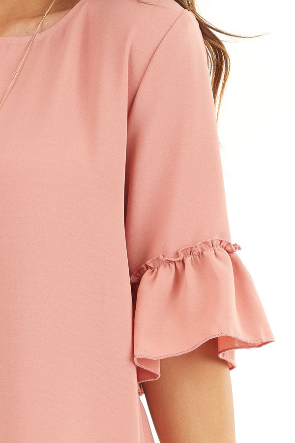 Salmon Shift Dress with Ruffle Details and Short Sleeves detail