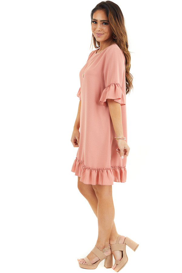 Salmon Shift Dress with Ruffle Details and Short Sleeves side full body