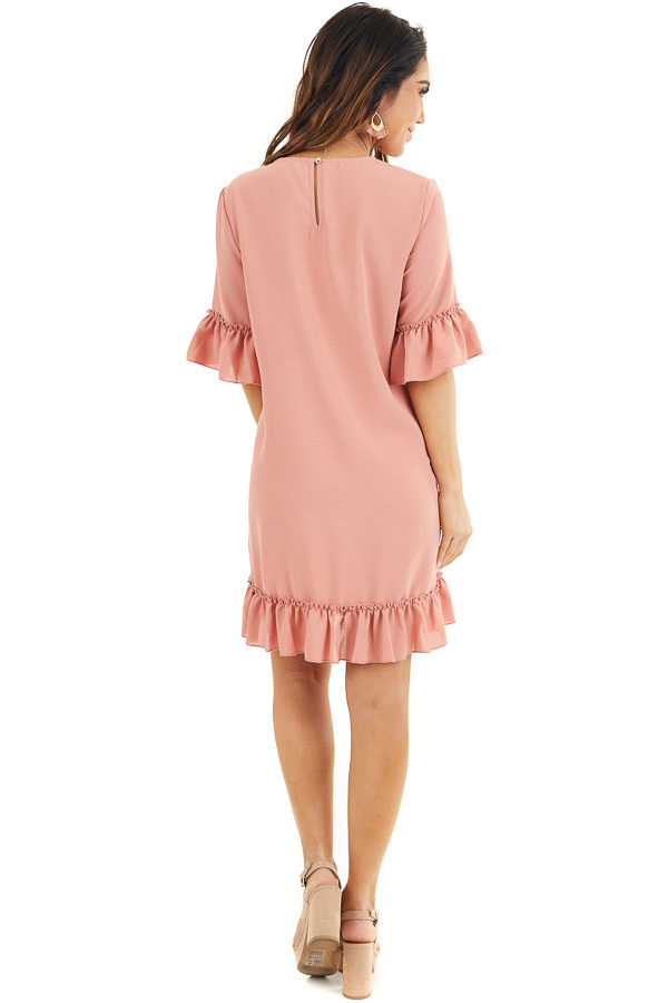 Salmon Shift Dress with Ruffle Details and Short Sleeves back full body