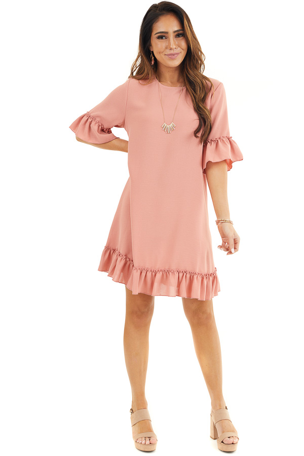 Salmon Shift Dress with Ruffle Details and Short Sleeves front full body