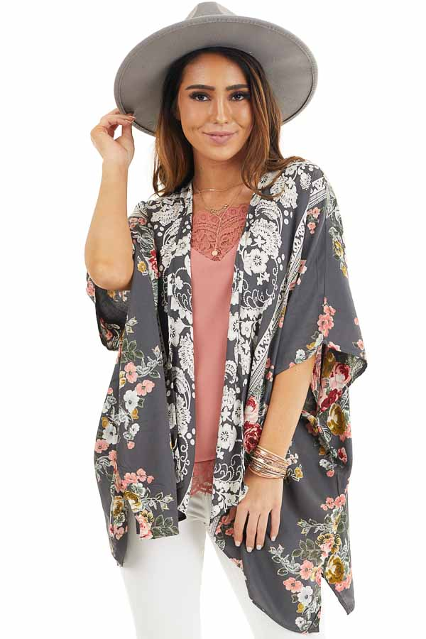 Stone Grey Floral Print Kimono with Short Dolman Sleeves front close up
