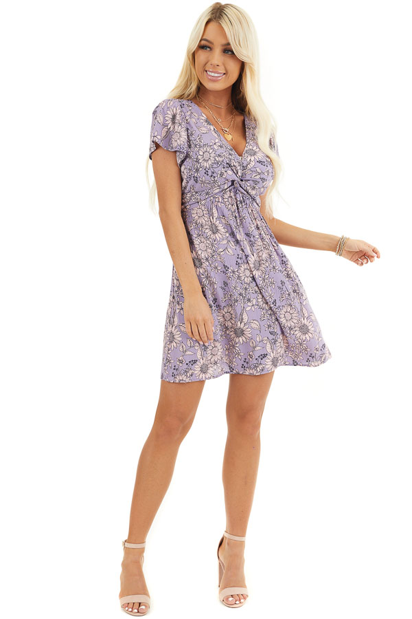 Lavender Floral Print Mini Dress with Twisted Front Detail front full body