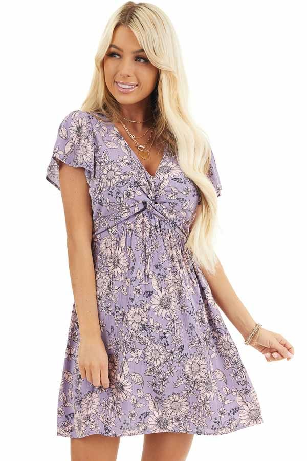Lavender Floral Print Mini Dress with Twisted Front Detail front close up