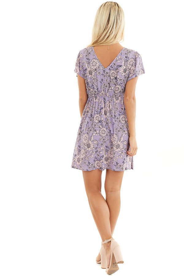 Lavender Floral Print Mini Dress with Twisted Front Detail back full body