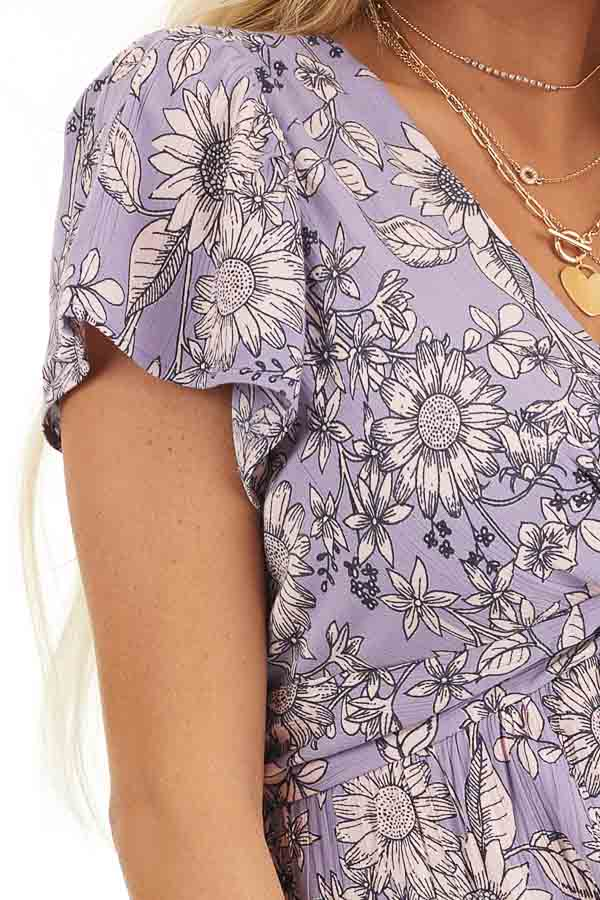Lavender Floral Print Mini Dress with Twisted Front Detail detail
