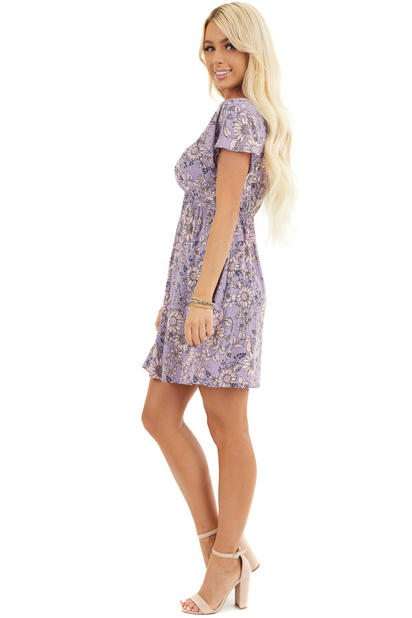 Lavender Floral Print Mini Dress with Twisted Front Detail side full body
