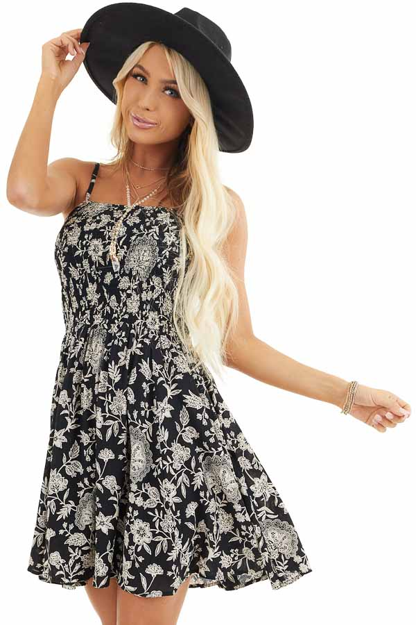 Black Floral Print Mini Dress with Spaghetti Straps front close up