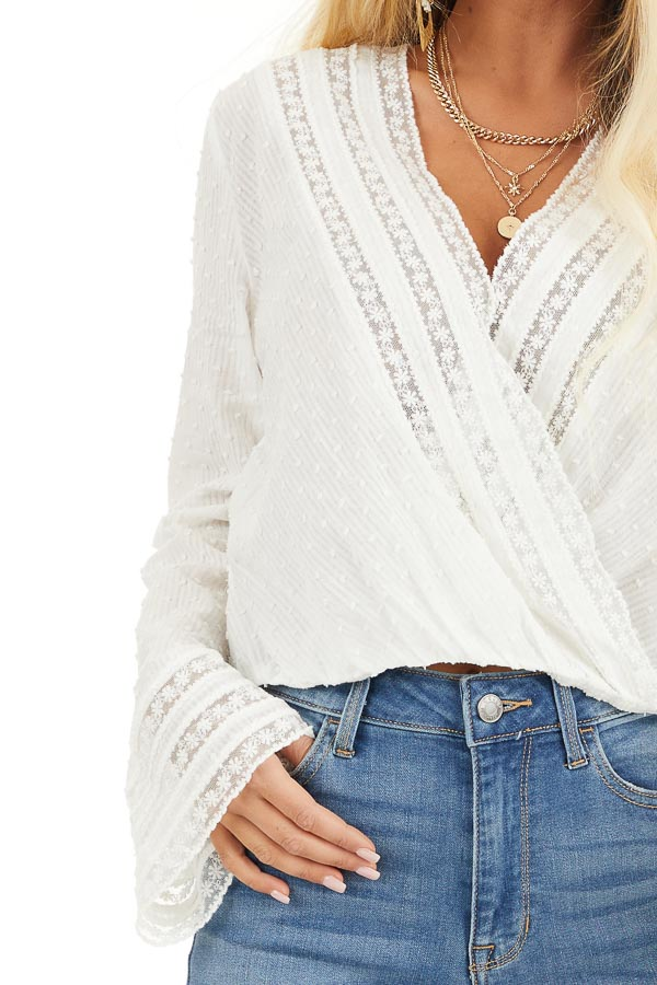 Off White Swiss Dot Surplice Blouse with Floral Lace Details detail