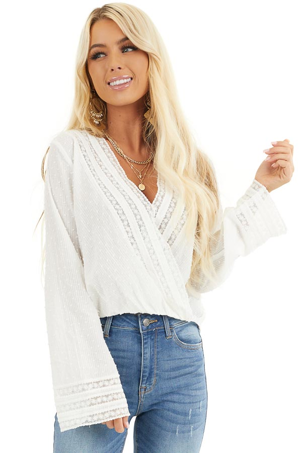 Off White Swiss Dot Surplice Blouse with Floral Lace Details front close up