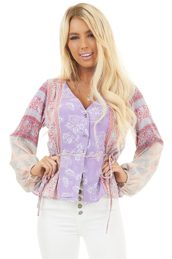 Lavender and Blush Paisley Printed Top with Side Ties