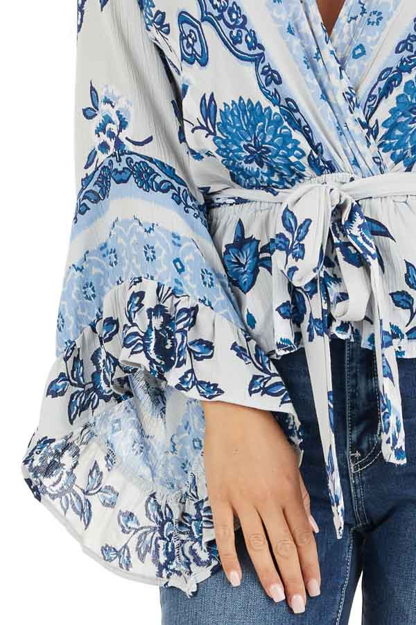 Dove Grey and Faded Blue Floral Print Blouse with Ruffles detail