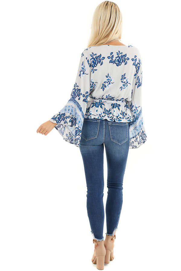 Dove Grey and Faded Blue Floral Print Blouse with Ruffles back full body