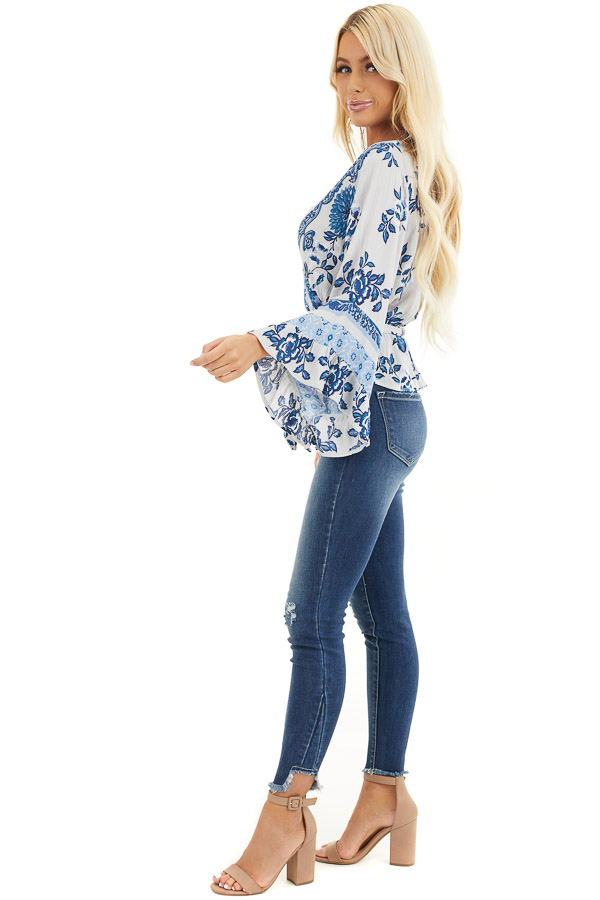 Dove Grey and Faded Blue Floral Print Blouse with Ruffles side full body