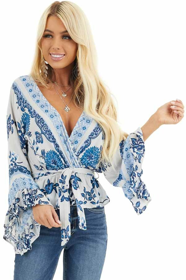 Dove Grey and Faded Blue Floral Print Blouse with Ruffles front close up