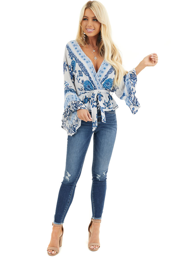 Dove Grey and Faded Blue Floral Print Blouse with Ruffles front full body