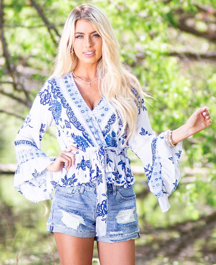 Dove Grey and Faded Blue Floral Print Blouse with Ruffles