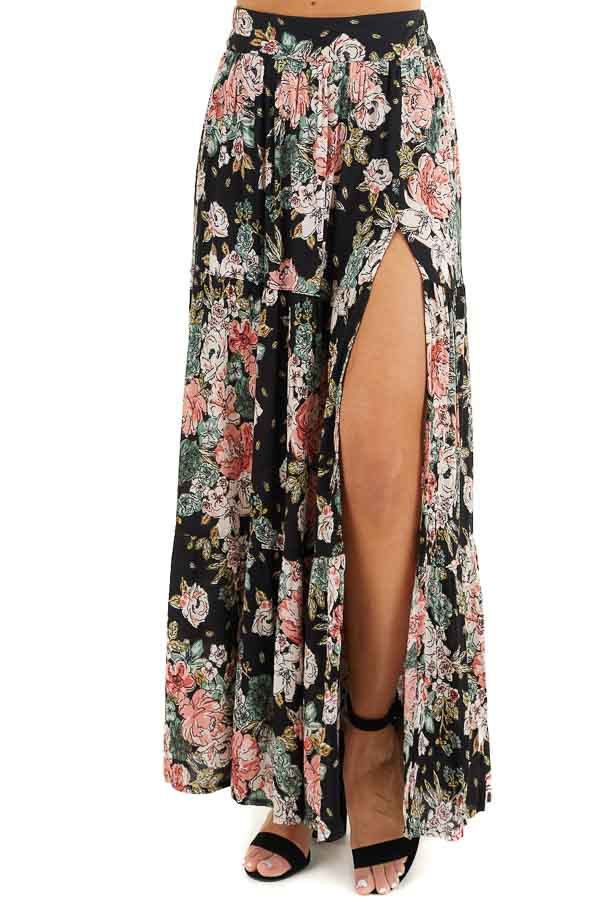 Black Floral Tiered Maxi Skirt with High Single Leg Slit front view