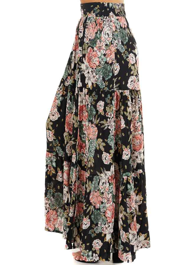 Black Floral Tiered Maxi Skirt with High Single Leg Slit side view