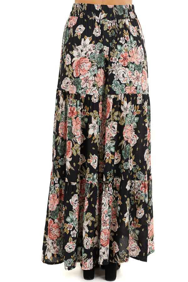 Black Floral Tiered Maxi Skirt with High Single Leg Slit back view