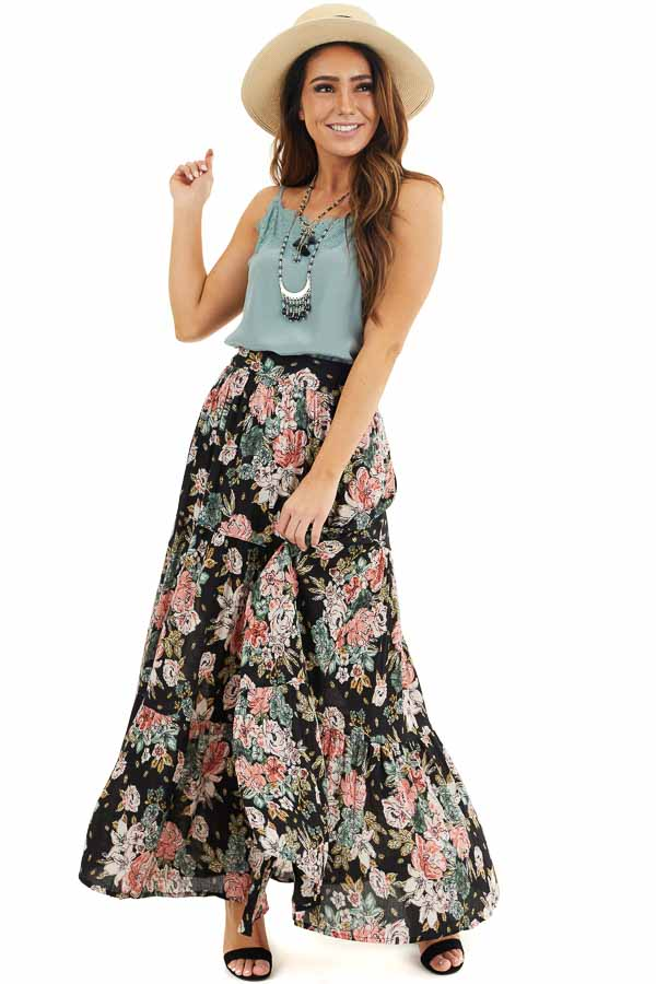 Black Floral Tiered Maxi Skirt with High Single Leg Slit front full body