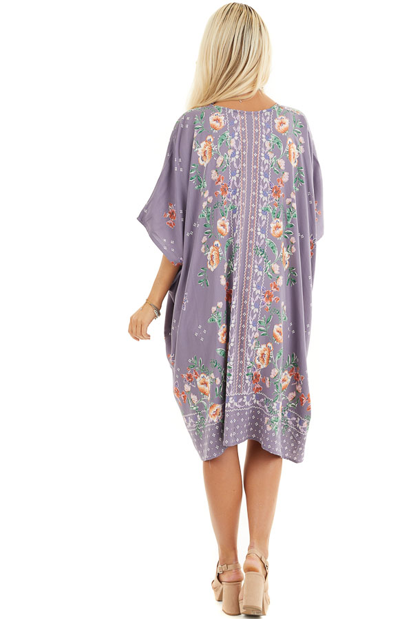 Lavender Loose Floral Print Kimono with Short Sleeves back full body