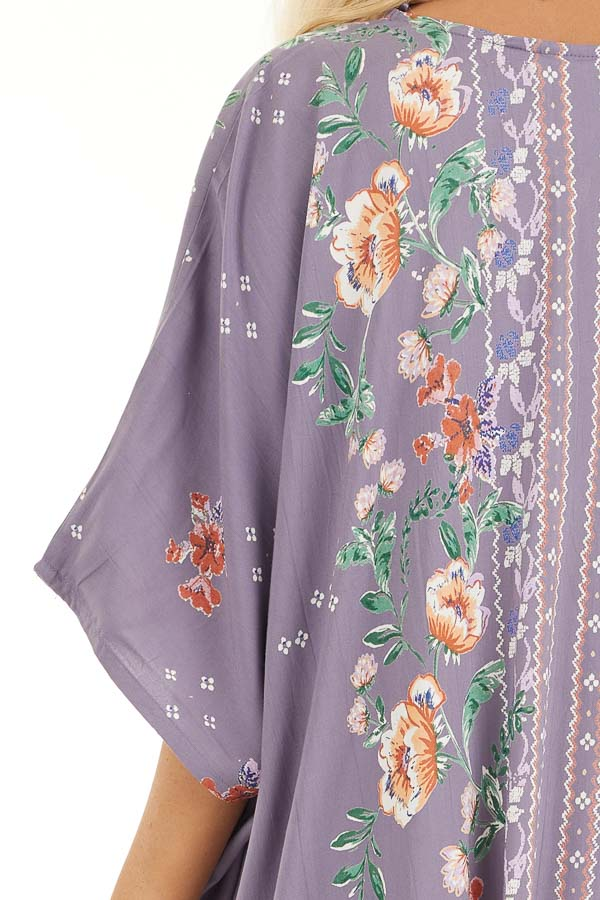 Lavender Loose Floral Print Kimono with Short Sleeves detail