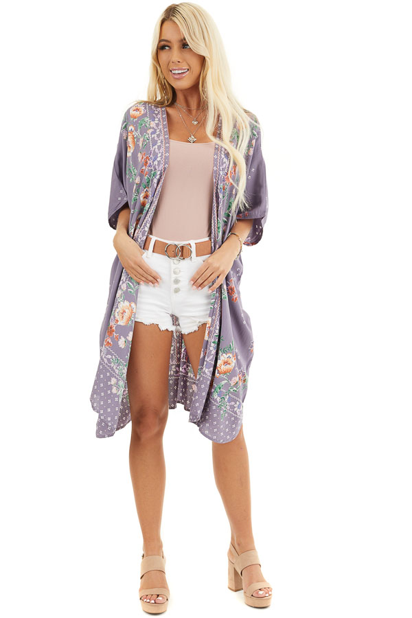 Lavender Loose Floral Print Kimono with Short Sleeves front full body