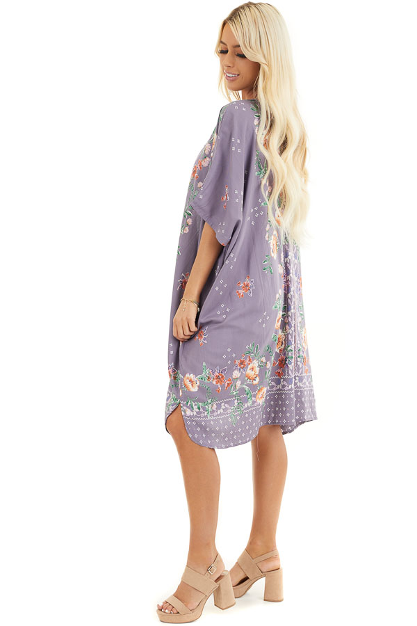 Lavender Loose Floral Print Kimono with Short Sleeves side full body