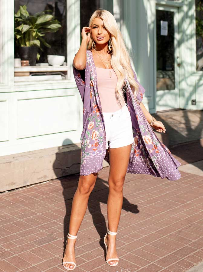 Lavender Loose Floral Print Kimono with Short Sleeves