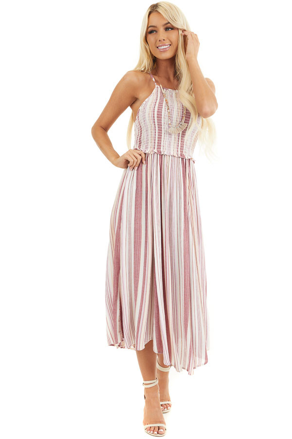 Dusty Pink Striped Maxi Dress with Spaghetti Straps front full body