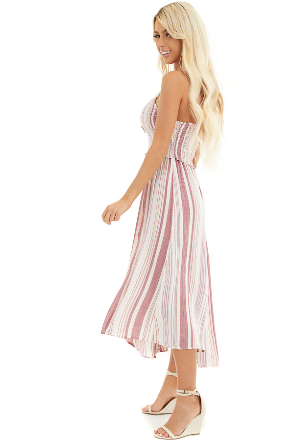 Dusty Pink Striped Maxi Dress with Spaghetti Straps side full body