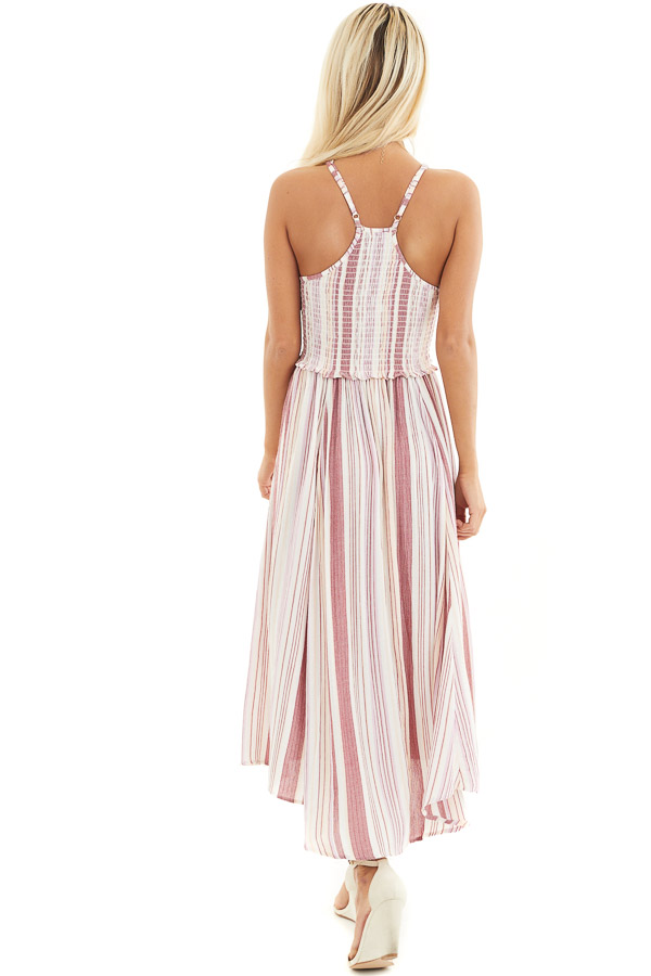 Dusty Pink Striped Maxi Dress with Spaghetti Straps back full body