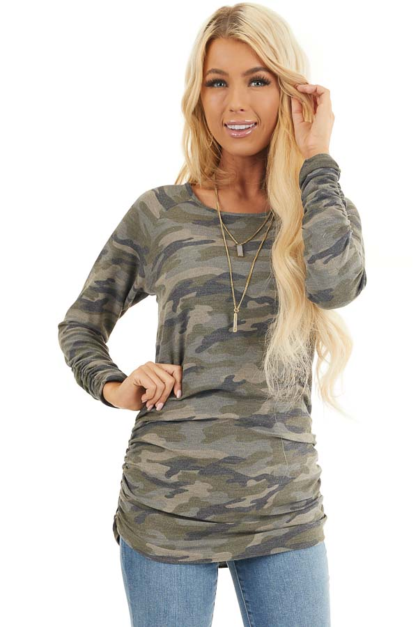 Olive Camo Print Long Sleeve Tunic Top with Ruched Sides front close up