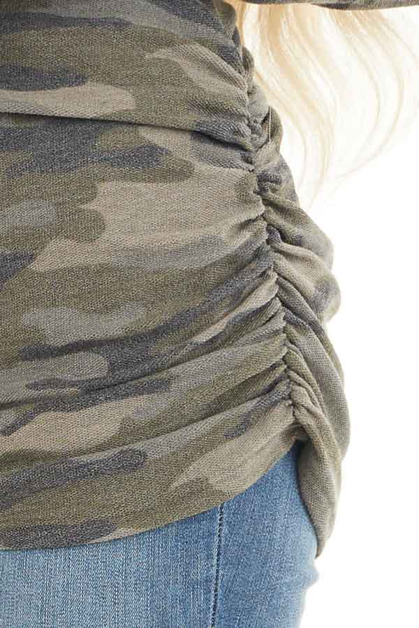 Olive Camo Print Long Sleeve Tunic Top with Ruched Sides detail