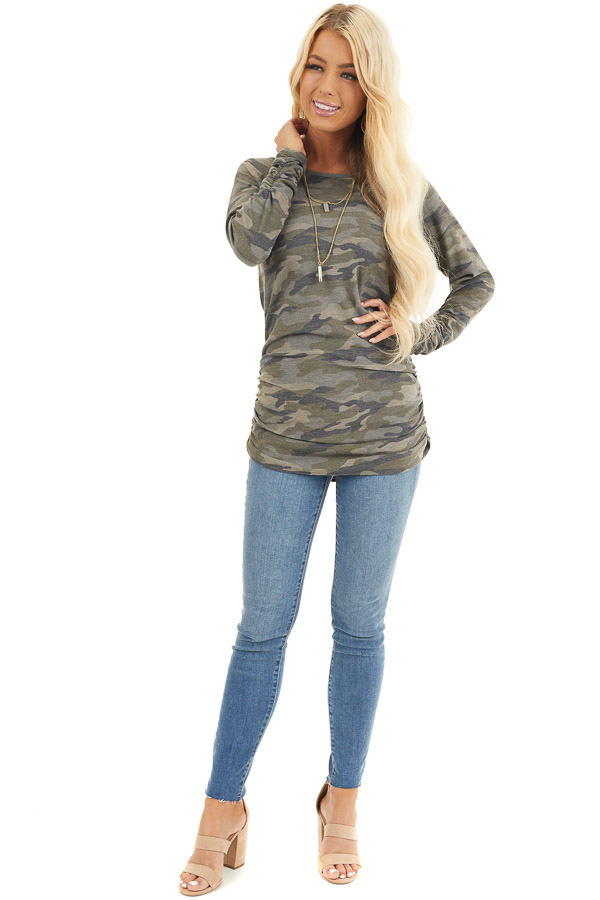 Olive Camo Print Long Sleeve Tunic Top with Ruched Sides front full body