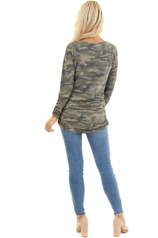 Olive Camo Print Long Sleeve Tunic Top with Ruched Sides back full body