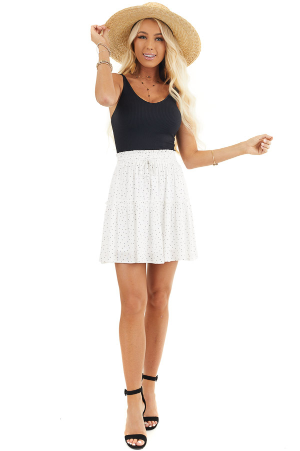 Ivory and Black Polka Dot Skirt with Elastic Waistband front full body