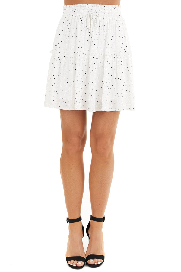 Ivory and Black Polka Dot Skirt with Elastic Waistband front view