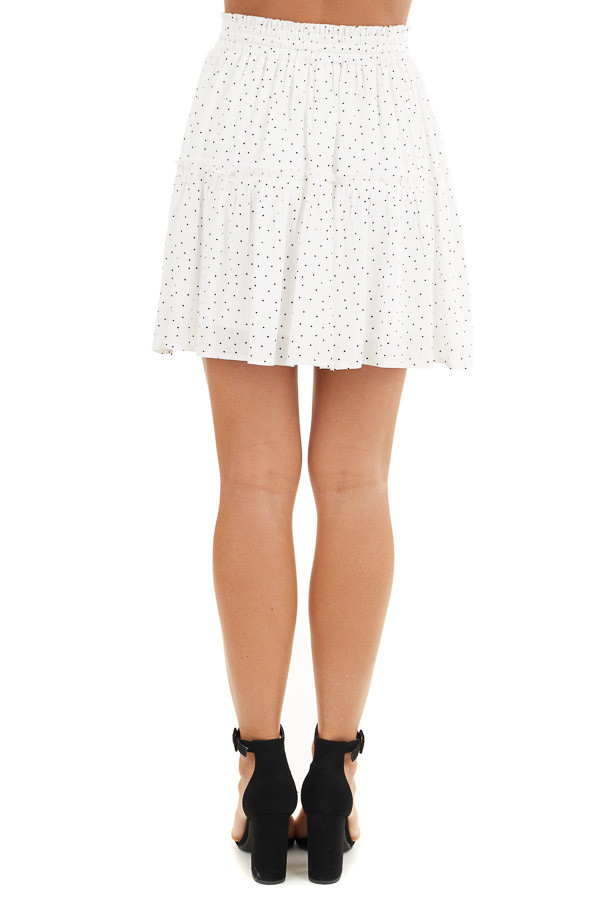 Ivory and Black Polka Dot Skirt with Elastic Waistband back view