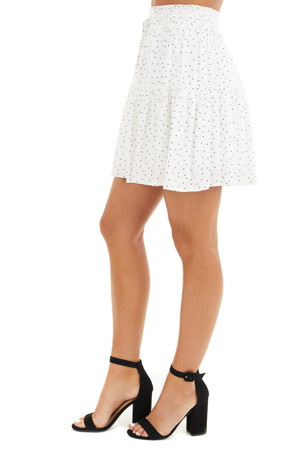 Ivory and Black Polka Dot Skirt with Elastic Waistband side view