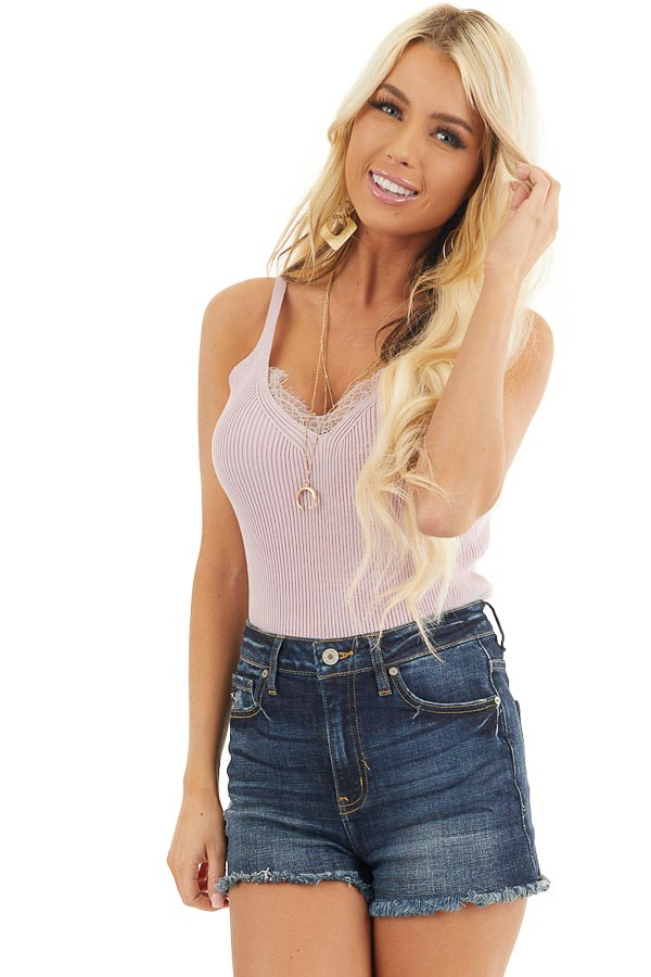 Blush Ribbed Knit Tank Top with Lace Trim V Neckline front close up