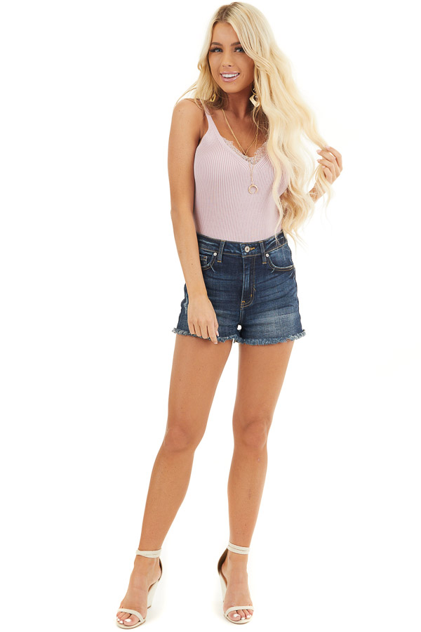 Blush Ribbed Knit Tank Top with Lace Trim V Neckline front full body