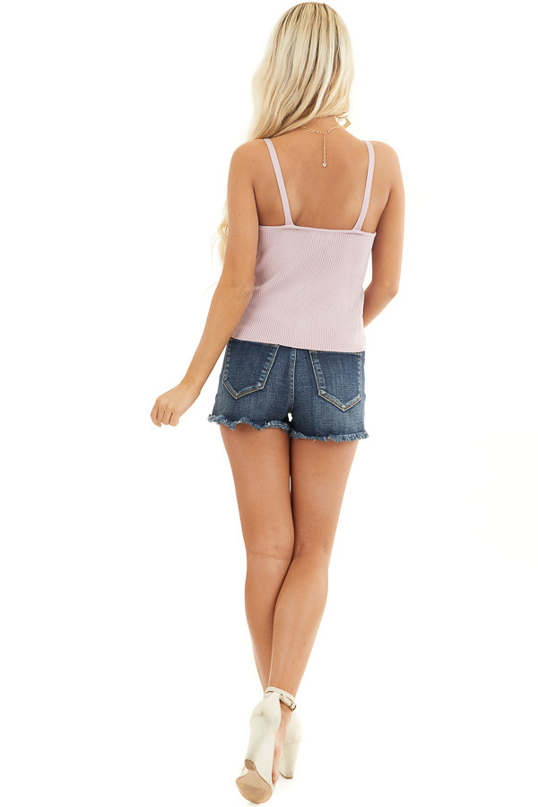 Blush Ribbed Knit Tank Top with Lace Trim V Neckline back full body