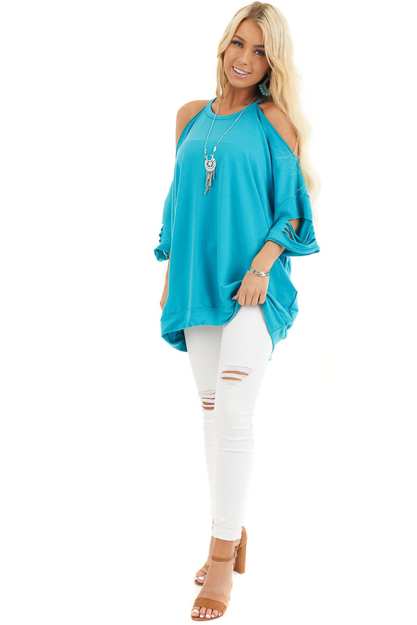 Aqua Blue Cold Shoulder Top with Distressed Details front full body