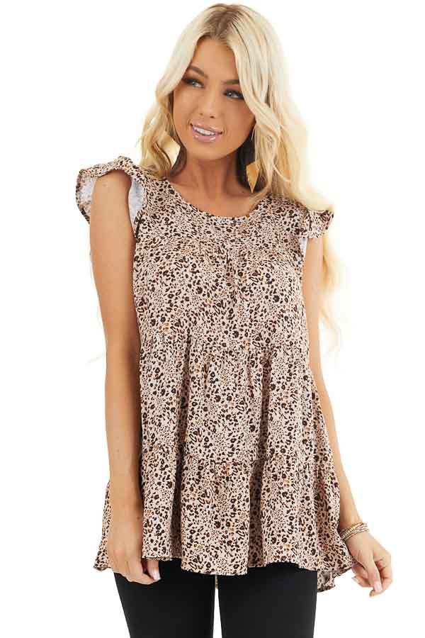 Cream Leopard Print Tiered Top with Ruffled Cap Sleeves front close up