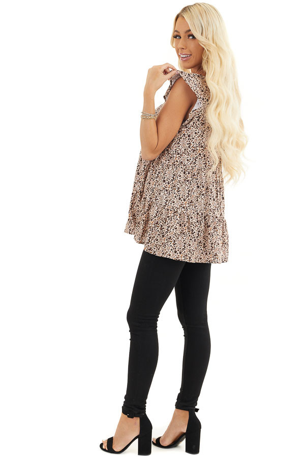 Cream Leopard Print Tiered Top with Ruffled Cap Sleeves side full body