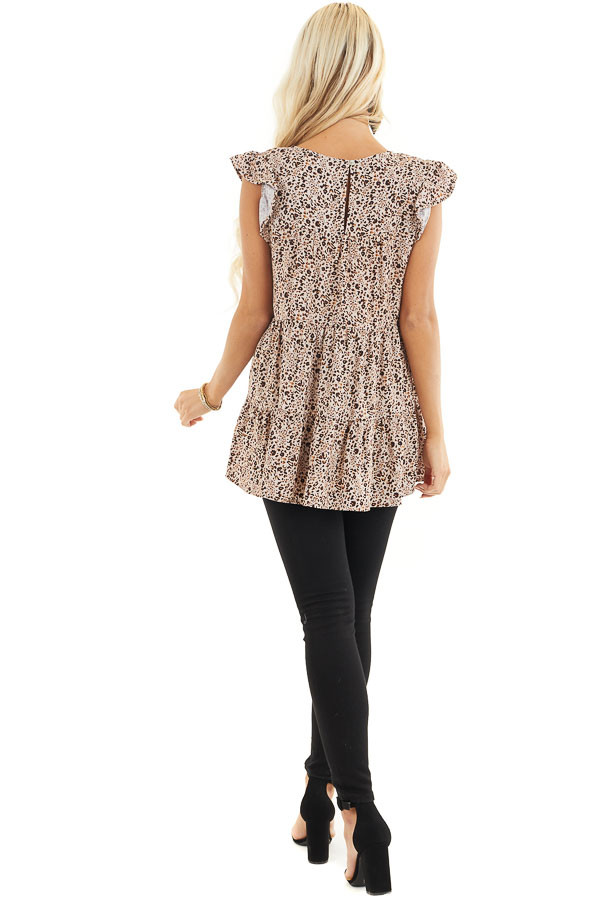 Cream Leopard Print Tiered Top with Ruffled Cap Sleeves back full body