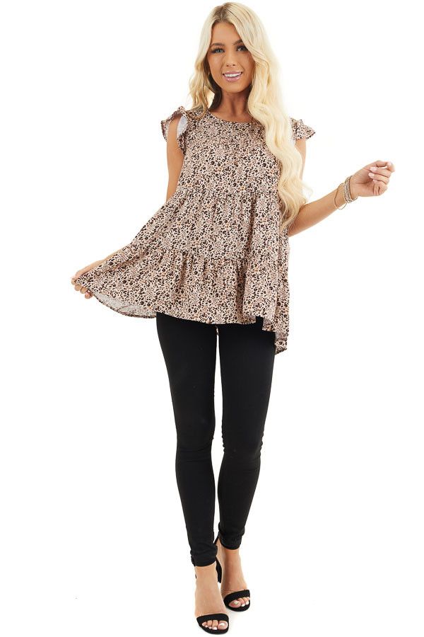 Cream Leopard Print Tiered Top with Ruffled Cap Sleeves front full body