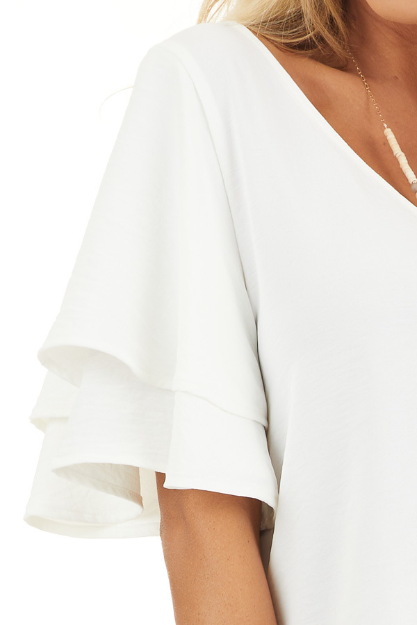 Off White Short Sleeve Top with Back Lace Panel Detail detail