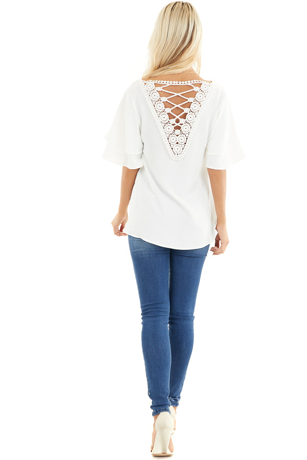 Off White Short Sleeve Top with Back Lace Panel Detail back full body